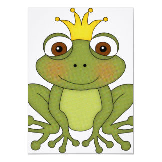 """Fairy Tale Frog Prince with Crown 4.5"""" X 6.25"""" Invitation Card"""