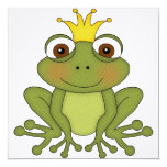 Fairy Tale Frog Prince with Crown 5.25x5.25 Square Paper Invitation Card