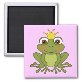 Fairy Tale Frog Prince with Crown 2 Inch Square Magnet
