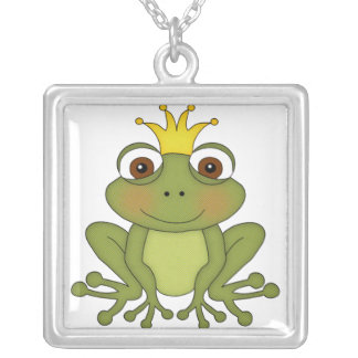 Fairy Tale Frog Prince with Crown Square Pendant Necklace