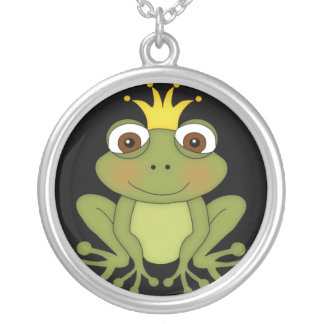 Fairy Tale Frog Prince with Crown Round Pendant Necklace