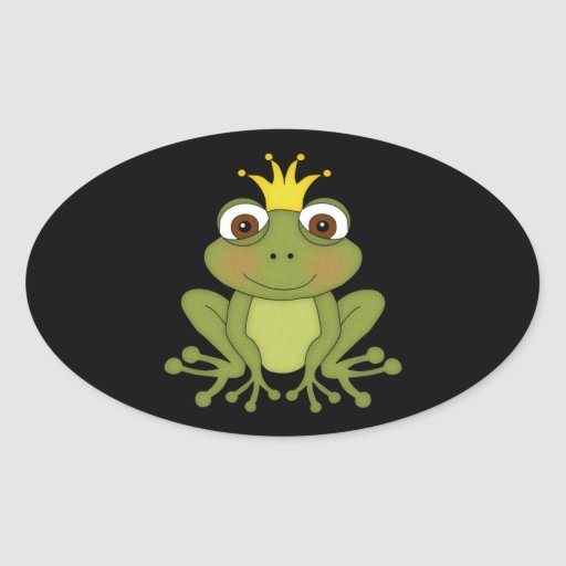 Fairy Tale Frog Prince with Crown Oval Stickers
