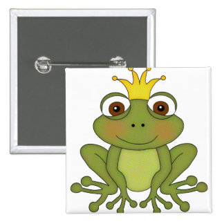 Fairy Tale Frog Prince with Crown Pinback Button
