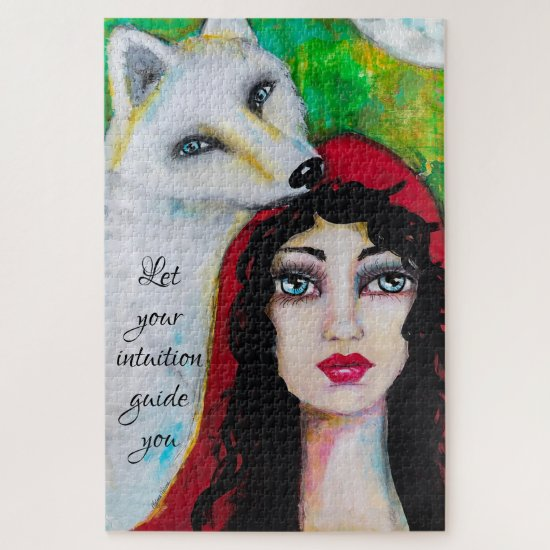 Fairy Tale Girl Red Cloak Wolf Whimsical Art Quote Jigsaw Puzzle