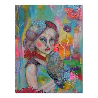 Fairy Tale Girl with Bird Postcard