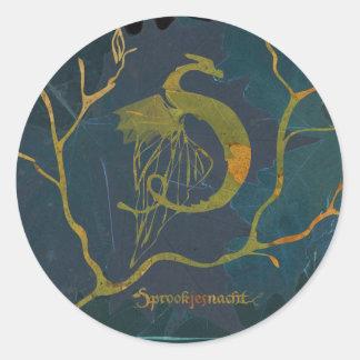 fairy tale night logo stickers round