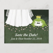 Fairy Tale Wedding Frog Prince Save the Date Announcement Postcard