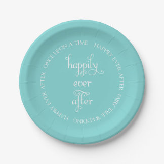 Fairy Tale Wedding Happily Aqua Paper Plate