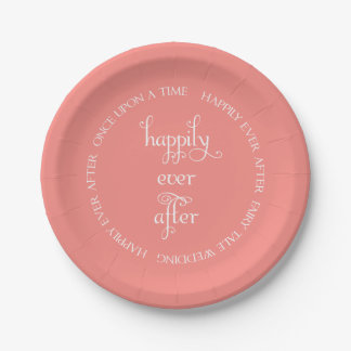 Fairy Tale Wedding Happily Coral Paper Plate