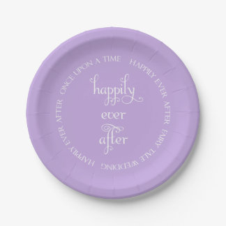 Fairy Tale Wedding Happily Lavender Paper Plate