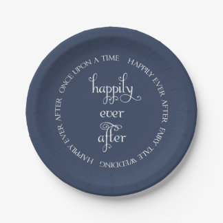 Fairy Tale Wedding Happily Navy Blue Paper Plate