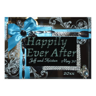 Fairy Tale Wedding- Light blue, black and silver 5x7 Paper Invitation Card