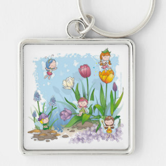 Fairy tale world 3 Silver-Colored square keychain