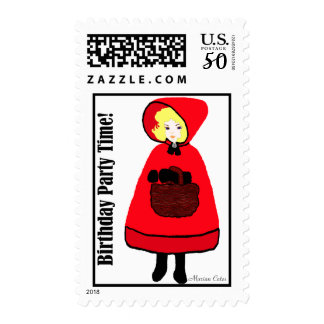 Fairy Tale Yellow Red Little Girl's Birthday Party Postage
