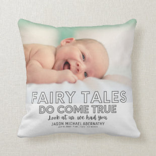 Fairy Tales Come True Gray Baby Boy Photo Throw Pillow