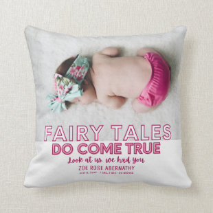 Fairy Tales Come True Pink Baby Girl Photo Throw Pillow
