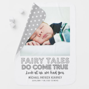Fairy Tales Do Come True Gray Baby Nursery Birth Baby Blanket