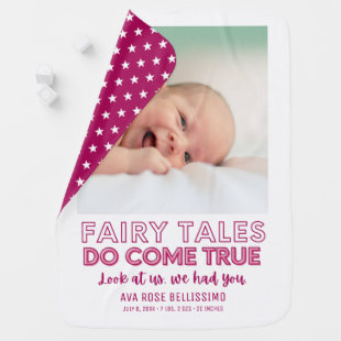 Fairy Tales Do Come True Pink Baby Girl Birth Stat Baby Blanket