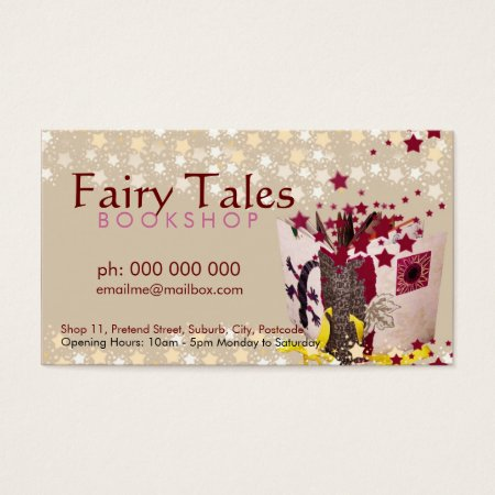 Earthy Fairy Tales, Stars and Sparkles Bookstore Business Cards
