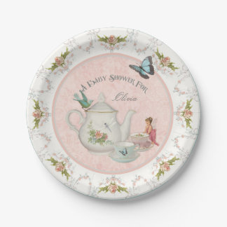 Fairy Tea Party Baby Shower Party Decor Rose Art Paper Plate