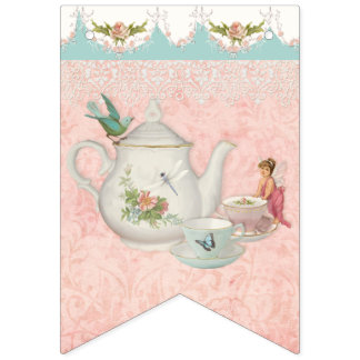 Fairy Tea Party Cute Girl Baby Shower Party Decor Bunting Flags