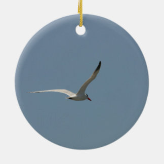 Fairy Tern in Flight/Antlered Stag in the Snow Ceramic Ornament
