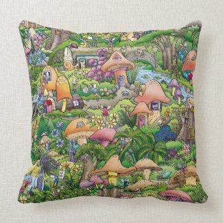 """""""Fairy Village"""" � Throw Pillow 20� x 20�"""