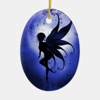 Fairy water dancer Double-Sided oval ceramic christmas ornament