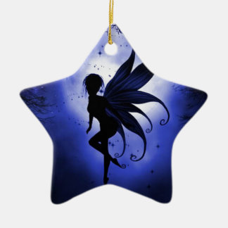 Fairy water dancer Double-Sided star ceramic christmas ornament
