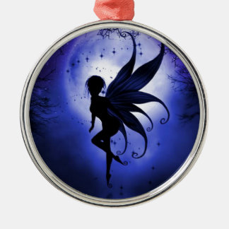 Fairy water dancer round metal christmas ornament