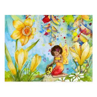 Fairy watercolour illustration whimsical postcard