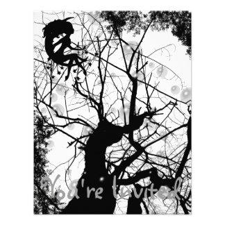 FAIRY WEBBY TREE BUBBLES B&W CUSTOM INVITE