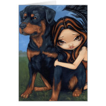 art, fantasy, eye, eyes, big eye, rottweiler, rottweilers, rotties, dog, dogs, puppy, puppies, ange, guardian angel, big eyed, jasmine, becket-griffith, becket, griffith, jasmine becket-griffith, jasmin, strangeling, artist, goth, gothic, fairy, gothic fairy, faery, fairies, faerie, fairie, lowbrow, low brow, big eyes, strangling, fantasy art, original, lowbrow art, pop, Card with custom graphic design