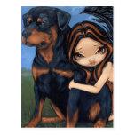 """""""Fairy with a Rottweiler"""" Postcard"""