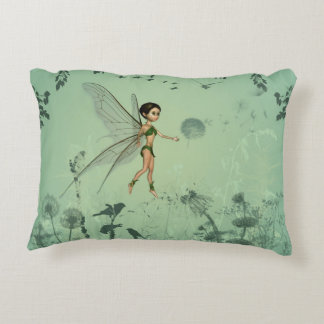Fairy with dandelion decorative pillow
