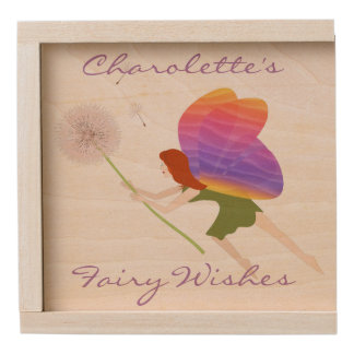 Fairy With Dandelion Personalized Wooden Keepsake Box
