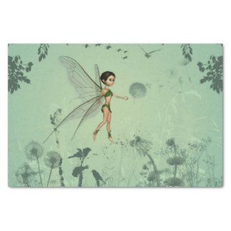 Fairy with dandelion tissue paper
