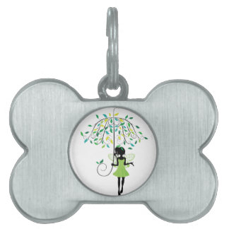 Fairy with Floral Umbrella 2 Pet Tag