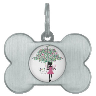 Fairy with Floral Umbrella Pet ID Tag