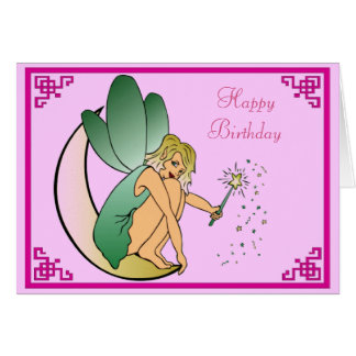 Fairy with Magic Wand Pixie Dust Happy Birthday Card