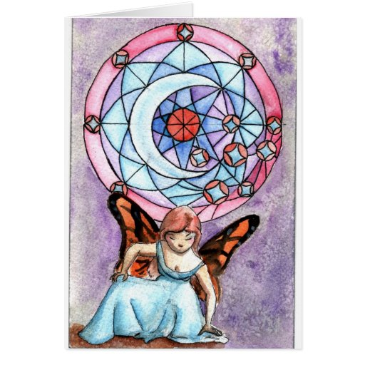 Fairy with Moon Window Greeting Card