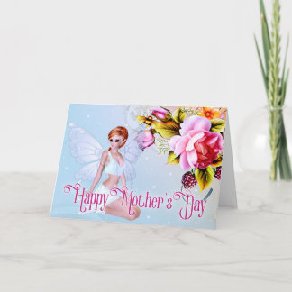 Fairy with Peonies - Fantasy Mother's Day Card