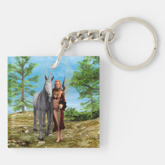 Fairy with Unicorn Double-Sided Square Acrylic Keychain