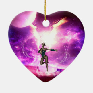 Fairy with water wings ceramic ornament