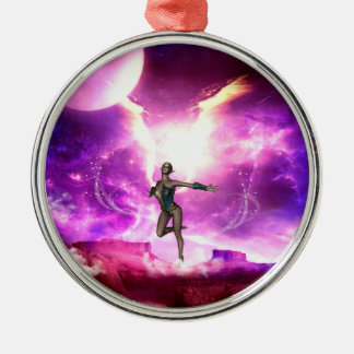 Fairy with water wings metal ornament