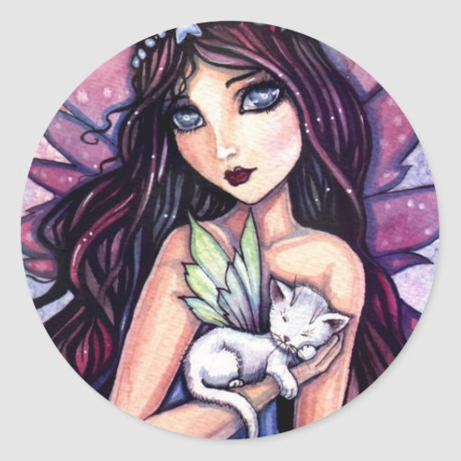 Fairy with White Cat Sticker by Molly Harrison