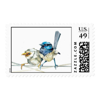 Fairy Wren Couple Postage Original Watercolor