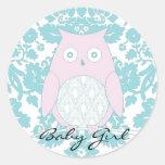 fairyfloss búho rosado, niña etiquetas redondas