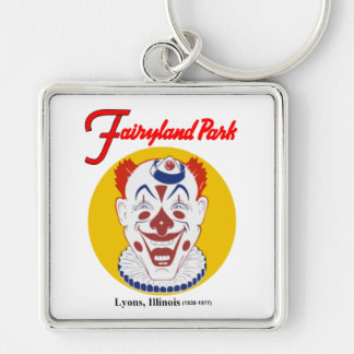 Fairyland Amusement Park, Lyons, Illinois, Chicago Silver-Colored Square Keychain