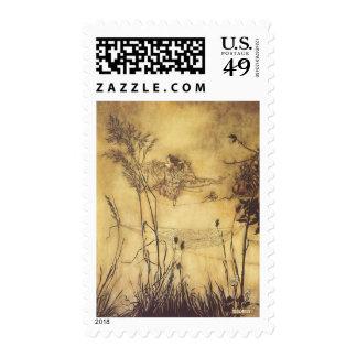 Fairy's Tightrope by Arthur Rackham, Vintage Art Stamp